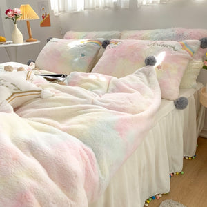 Luxury Lovely Rainbow Unicorn Bedding Set