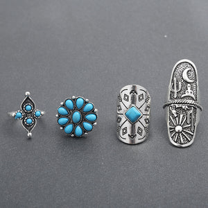 Vintage Tibet Silver Ring Sets of 9 Pieces