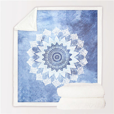 Cobalt Blue Mandala Throw Blanket