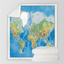 Load image into Gallery viewer, World Map Throw Blanket