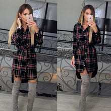 Load image into Gallery viewer, Checkered Shirt Dress