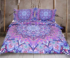 Purple Glowing Mandala Bed Set