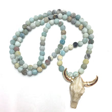 Load image into Gallery viewer, Frosted Amazonite Skull Necklace