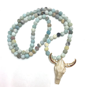 Frosted Amazonite Skull Necklace