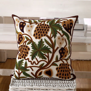 Flower Embroidery Cushion Cover