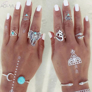 Elephant 8pcs Ring Set