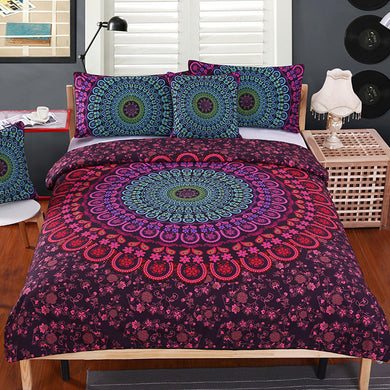 Red Mandala Bed Set - 4 pcs