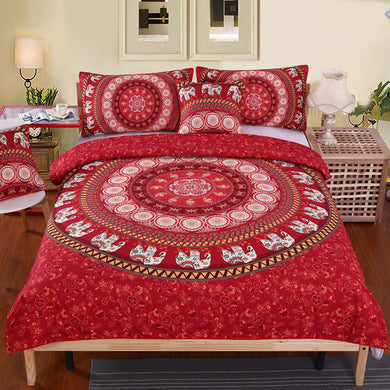 Red Mandala Elephant Bed Set  - 4Pcs