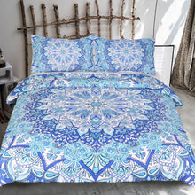 Load image into Gallery viewer, Dreaming in Blue Mandala Bed Set