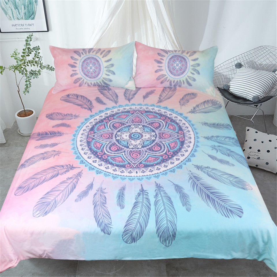 Pink Mandala Feathers Bed Set