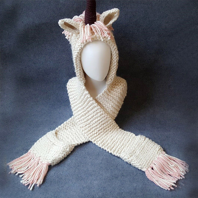 Winter Unicorn Scarf Hat  3-10Y