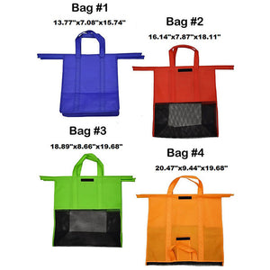 4 pcs Set Shopping Trolley Reusable Bags - With cooler bag