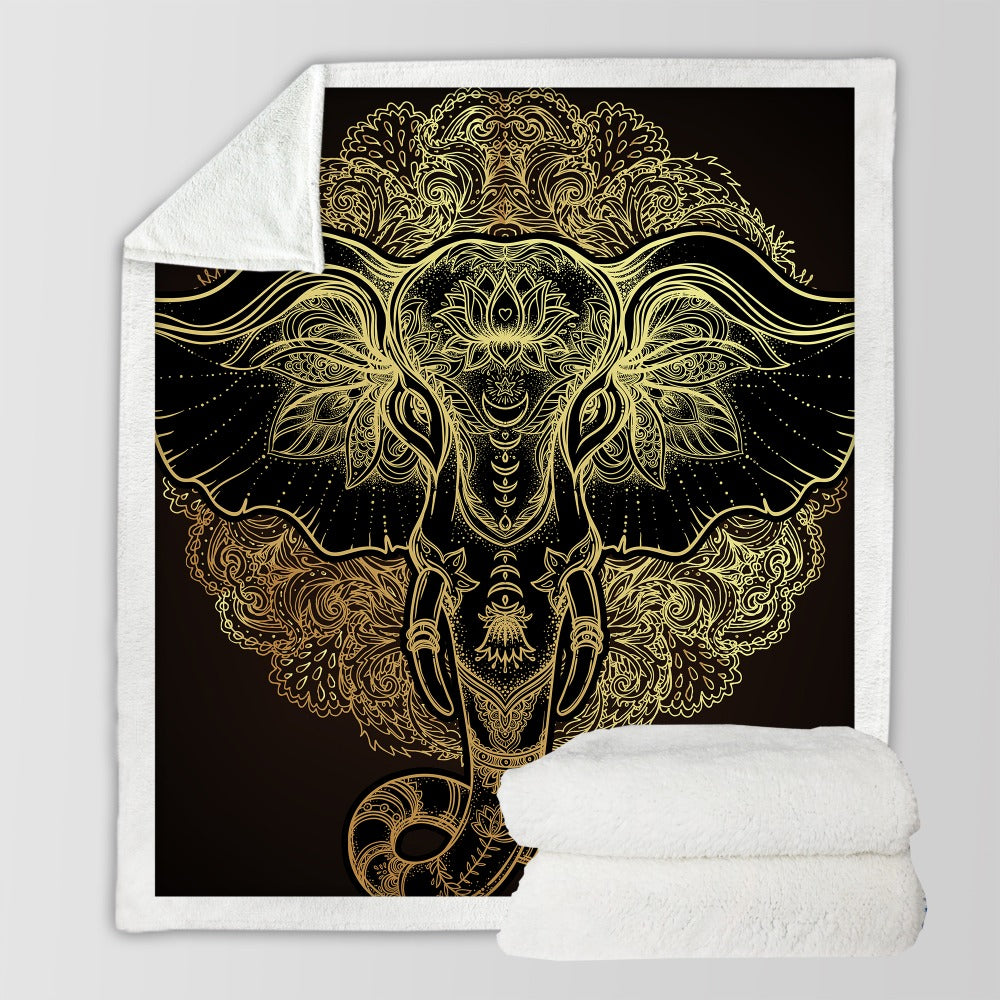 Golden Elephant Throw Blanket