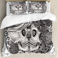 Load image into Gallery viewer, Black and White Sugar Skull Bed Set