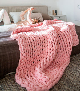 Chunky Hand Knitted Throw - Many colours