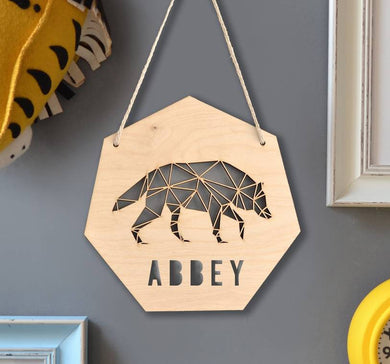 Personalised Timber Bear Plaque