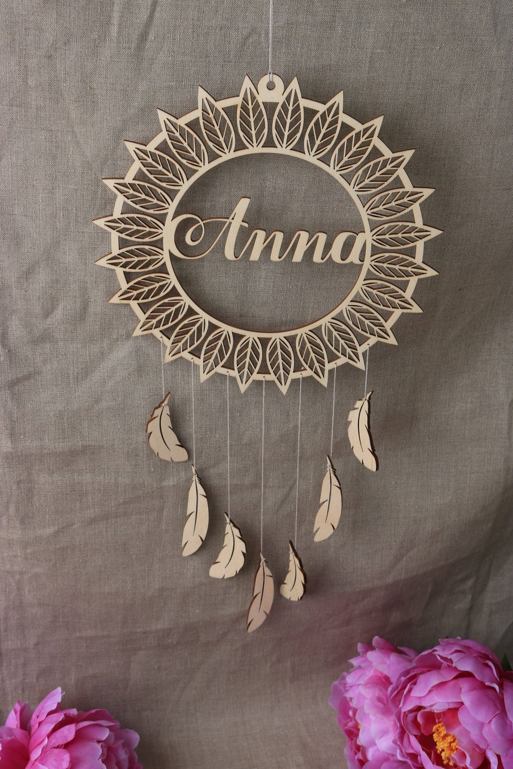 Personalised Timber Feathers Dream Catcher