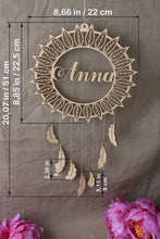 Load image into Gallery viewer, Personalised Timber Feathers Dream Catcher