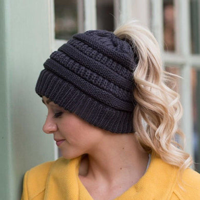 Ponytail Beanie - Solid Colors