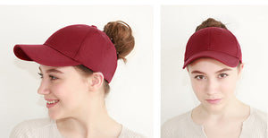 Solid Cotton Ponytail Cap