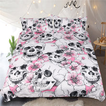 Load image into Gallery viewer, Cherry Blossom Sugar Skull Bedding Set