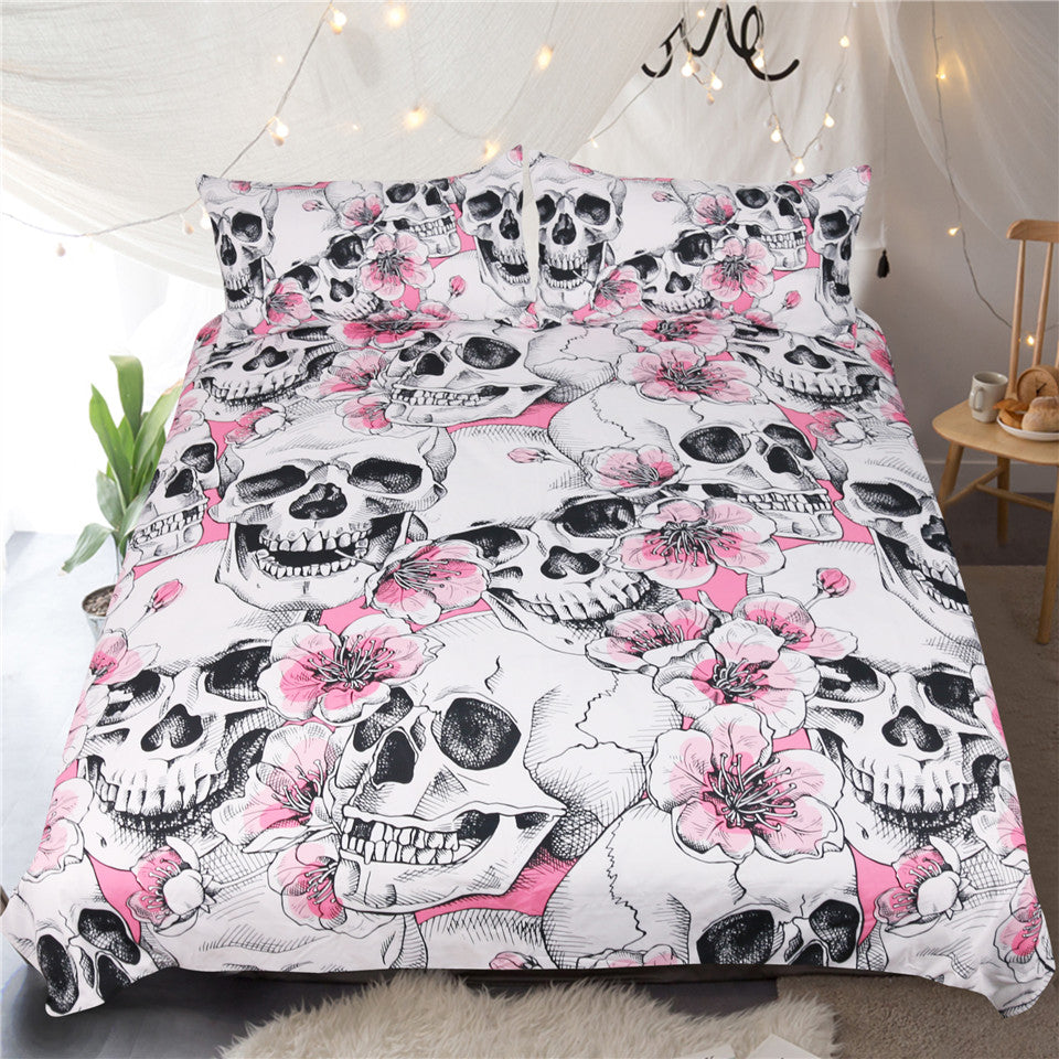 Cherry Blossom Sugar Skull Bedding Set