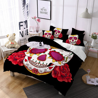 Skull Red Flowers Bedding Set