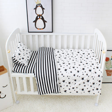 Striped Stars 3Pcs Baby Bedding Set - 100% cotton