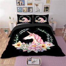 Load image into Gallery viewer, Black Unicorn Bedding Set