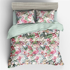 Floral Flamingo Premuim Bed Set