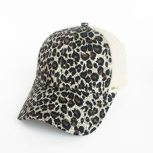Ponytail Messy Bun Cap Animal Print