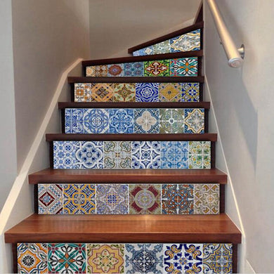 6 Pcs Set Mosaic Stairway Sticker Tiles