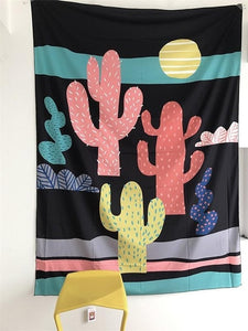 Boho Green Plants Cactus Tapestry