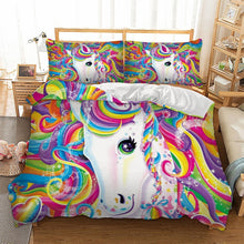 Load image into Gallery viewer, Sparkly Eye Unicorn Bedding Set
