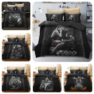 Sugar Skull And Motorcycle Bedding Set - 6 styles