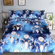 Load image into Gallery viewer, Bull Head Skull Bedding Set