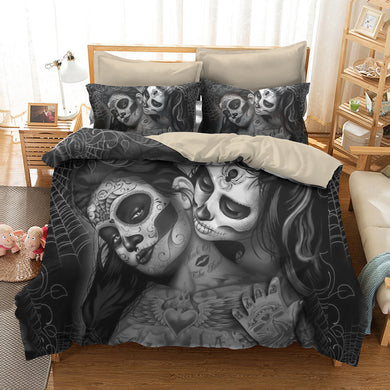 Couple kissing sugar Skull Bedding Set