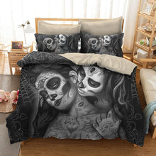 Load image into Gallery viewer, Couple kissing sugar Skull Bedding Set