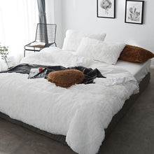 Load image into Gallery viewer, Fluffy Velvet Fleece Quilt Cover Bed Set (4/6/7 pcs) - White