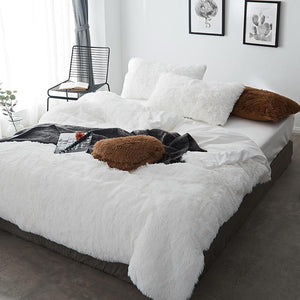 Fluffy Velvet Fleece Quilt Cover and pillowcases - White