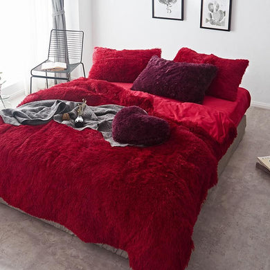 Newcastle Stock - Fluffy Velvet Fleece Quilt Cover and pillowcases - Red