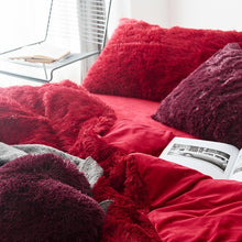 Load image into Gallery viewer, Fluffy Velvet Fleece Quilt Cover Bed Set (4/6/7 pcs) - Red