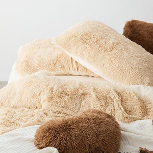 Fluffy Velvet Fleece Quilt Cover Bed Set (4/6/7 pcs) - Camel