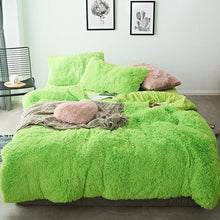Load image into Gallery viewer, Fluffy Velvet Fleece Quilt Cover and pillowcases - Lime Green
