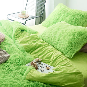 Fluffy Velvet Fleece Quilt Cover Bed Set (4/6/7 pcs) - Lime Green