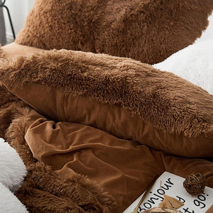 Fluffy Velvet Fleece Quilt Cover and pillowcases - Chocolate