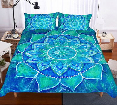 Green Sun Mandala Bedding Set