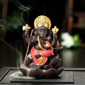 Golden Ganesha & Buddha Backflow Incense Burner