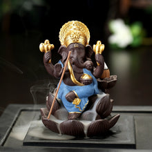 Load image into Gallery viewer, Golden Ganesha & Buddha Backflow Incense Burner