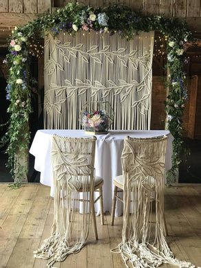Macrame Wedding Backdrop Set with 2 chair backs